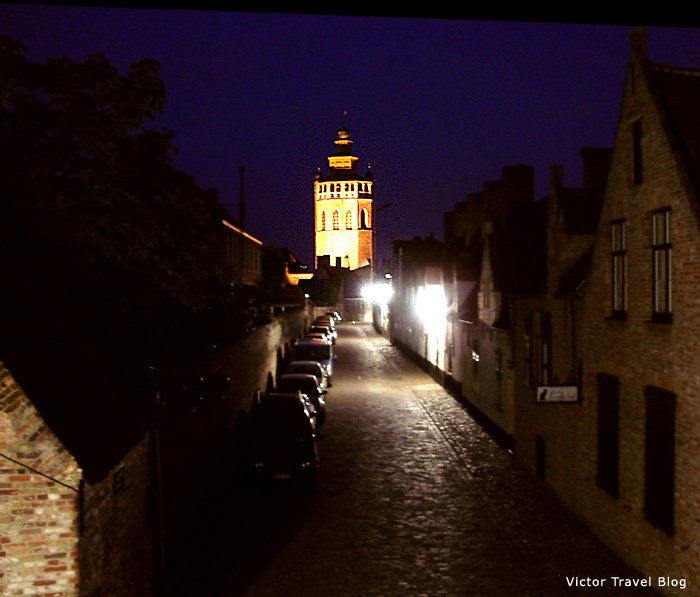 Night in Bruges. Belgium.