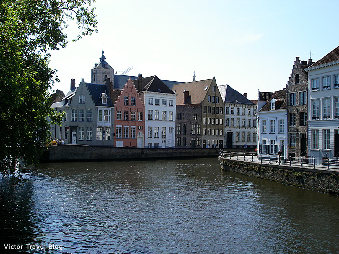 One of the canals of Bruges with accommodations for rent. Bruges. Belgium.