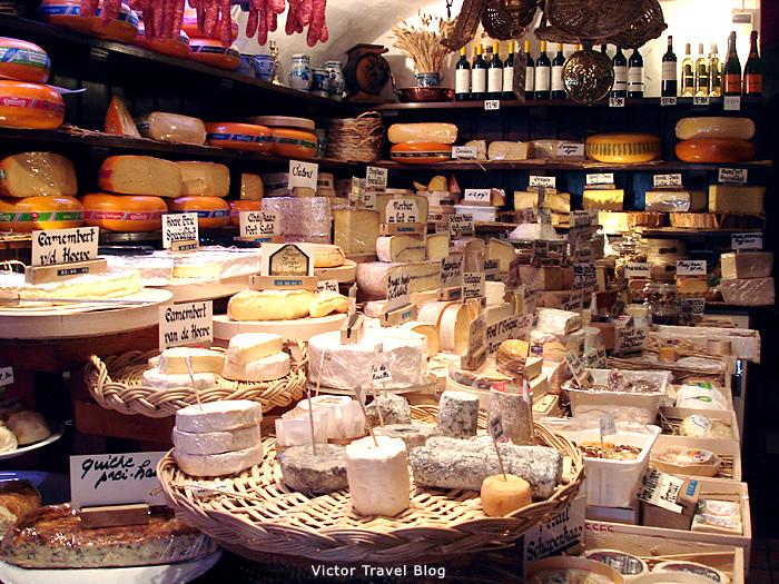Cheese shop in Bruges. Belgium.