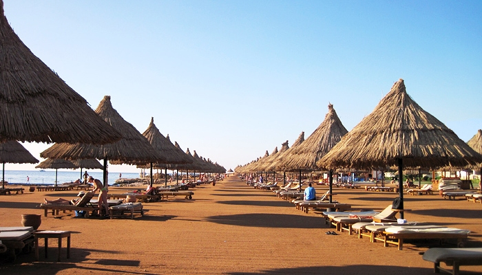 One of the endless beaches of Taba Heights, Egypt.