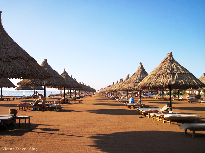 One of the endless beaches of Taba Heights. Egypt.