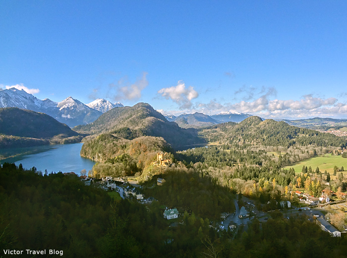 The view of the Alpsee and Hohenschwangau Castle, Bavaria.