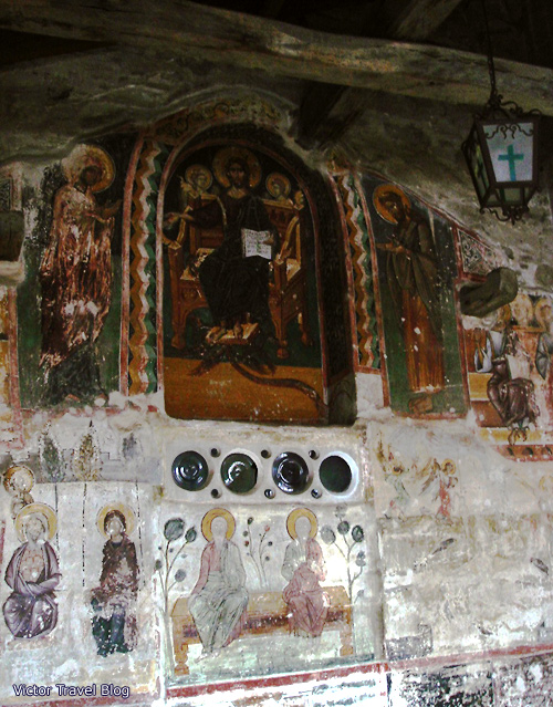 The ancient frescosof the Holy Monastery of the Transfiguration of Jesus. Meteora. Greece