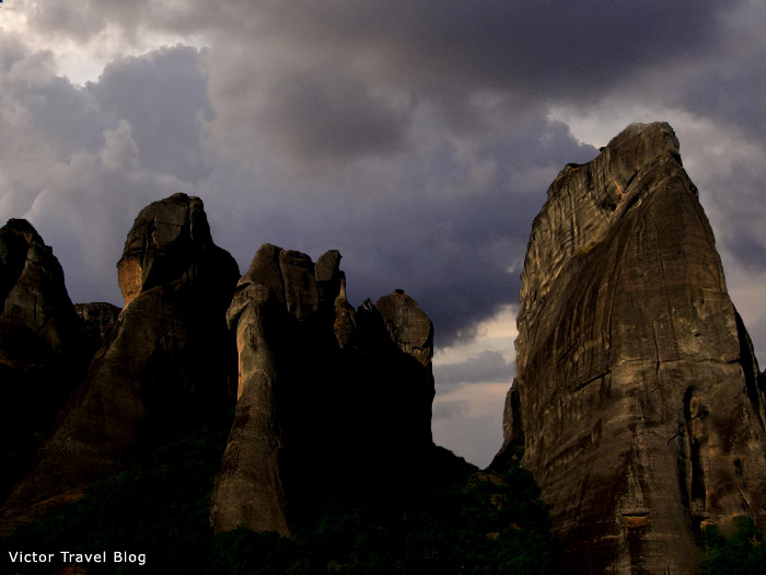 The rock towers of Meteora in Greece.