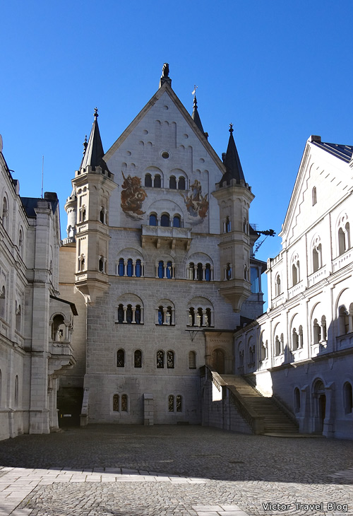 The inner courtyard of Neuschwanstein Castle, Bavaria.