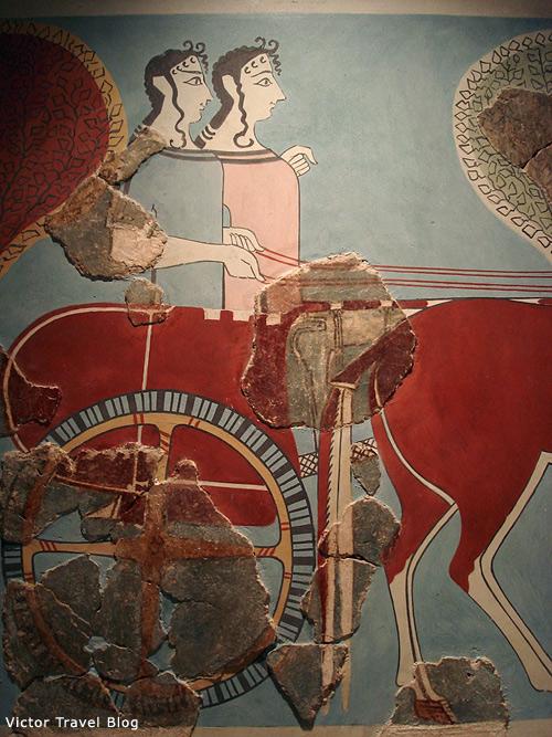 Fresco Abduction of Helen. Mykenae, Greece.
