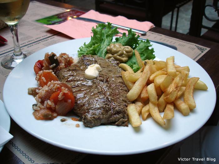 Beefsteak in Capo Cafe. Trogir. Croatia.