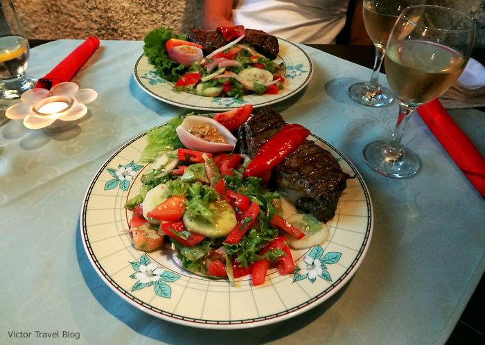 Steak in Capo Cafe. Trogir. Croatia.