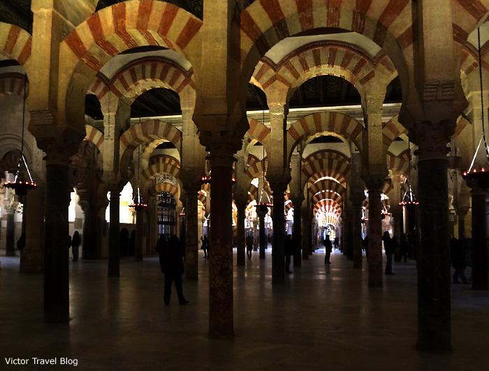 Inside of the Mezquita de Cordoba, Spain.