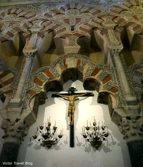 Inside of the Mezquita de Cordoba, Spain.