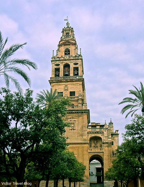 The bell tower of the Mezquita de Cordoba, Espana.