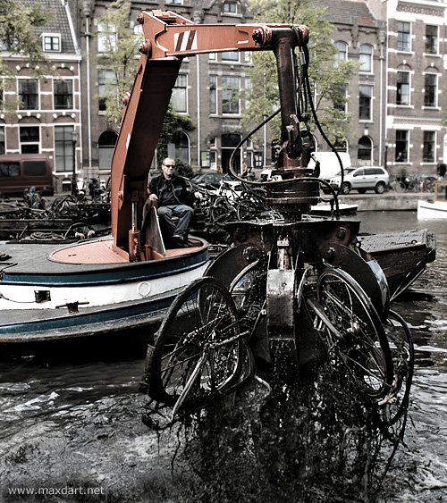 Bicycles from the bottom of the Amstel river, Amsterdam, The Netherlands.