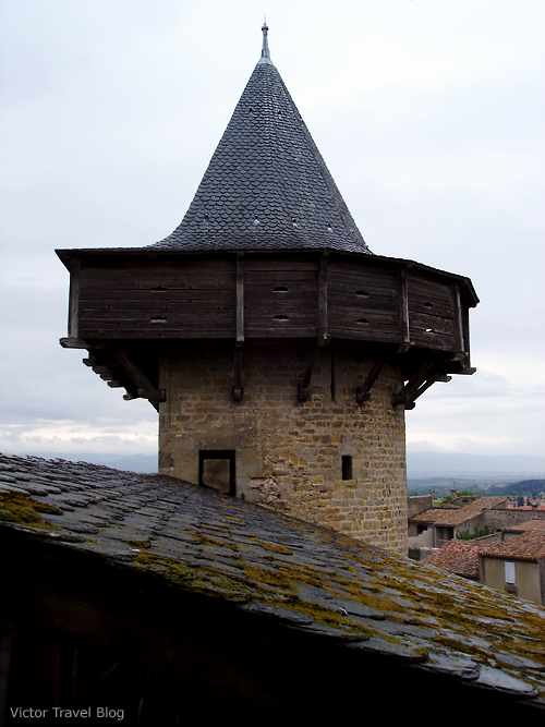 One of the towers of the medieval castle Сarcassonne. Languedoc, France.