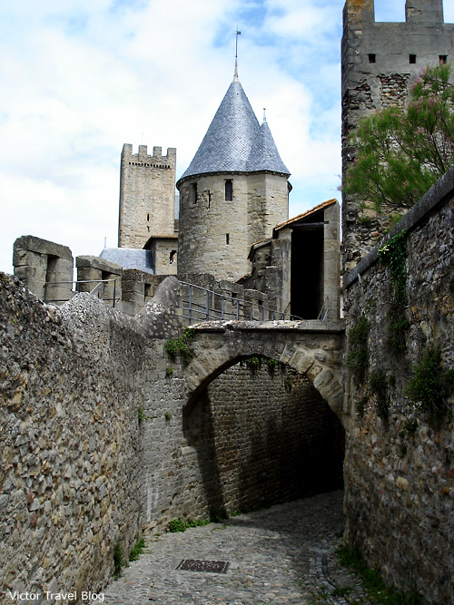 Towers of the medieval castle Сarcassonne. Languedoc, France.