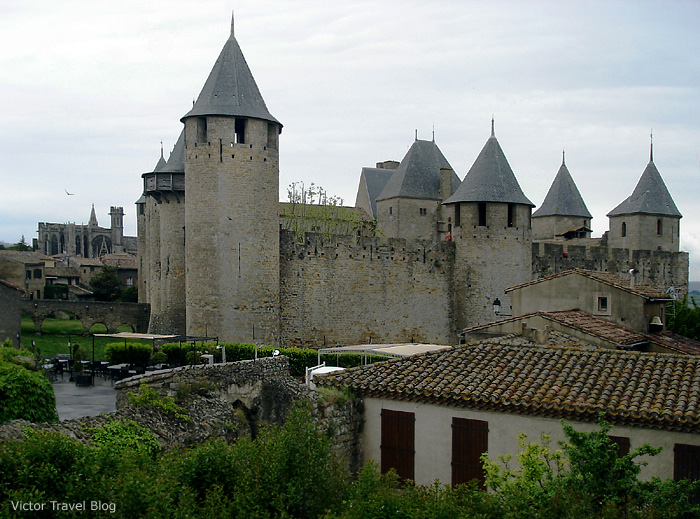 Towers of the medieval fortress of Carcassonne. Languedoc, France.