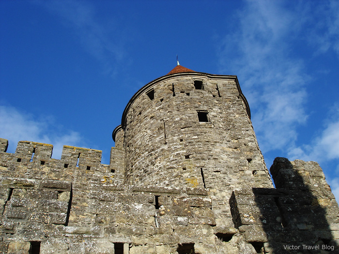 One of the towers of the medieval La Cite de Сarcassonne. Languedoc, France.