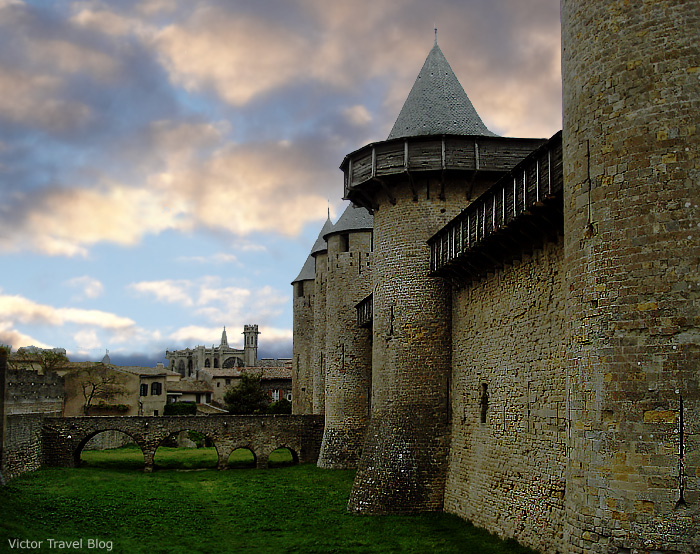 The walls of the medieval city-castle Сarcassonne, France.