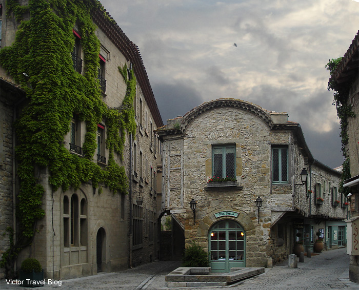 Chez Sashia. One of the best restaurants of the medieval city Сarcassonne. Languedoc, France.