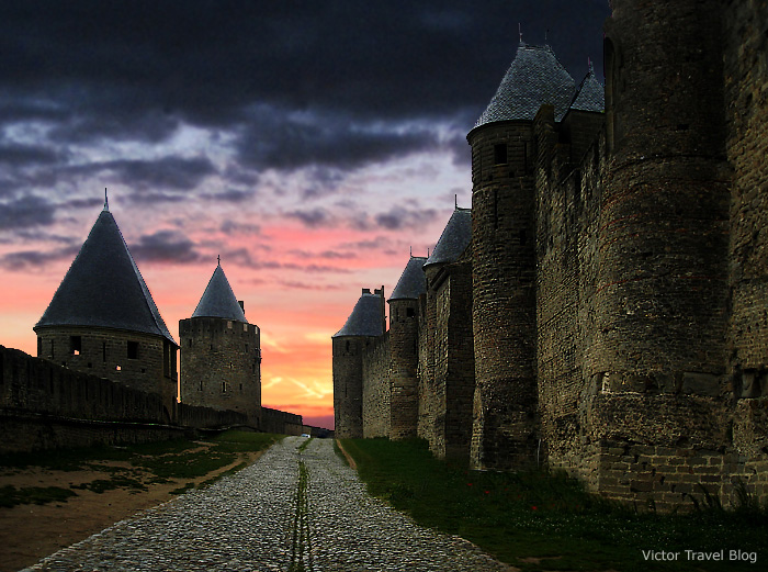 The walls of the medieval city-castle Сarcassonne. Languedoc, France.