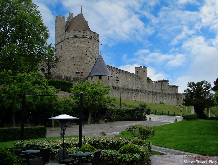 The view of the walls of Carcassonne from the Hotel Du Chateau. Languedoc, France.