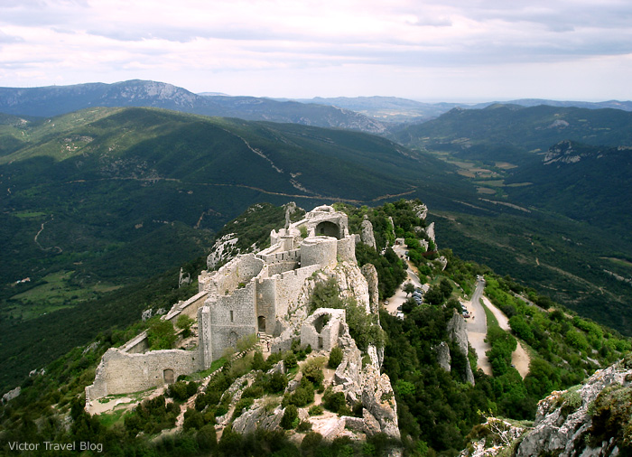 Peyrepertuse is the largest of the Cathar castles, and relatively well-preserved. Languedoc, France.