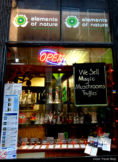 Magic mushrooms in local smart shop. Amsterdam, The Netherlands.