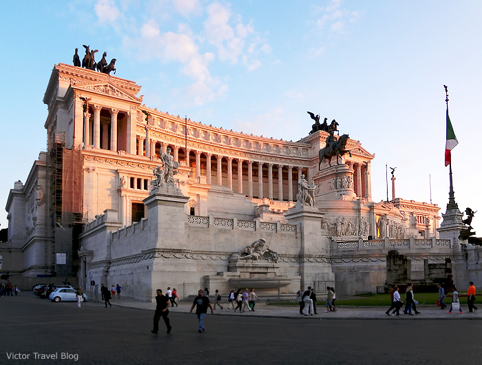 Il Vittoriano, Piazza Venezia, on the slope of the Capitoline Hill. Rome, Italy.