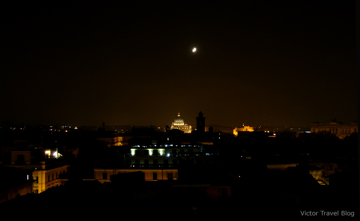 Night view of Vatican City.