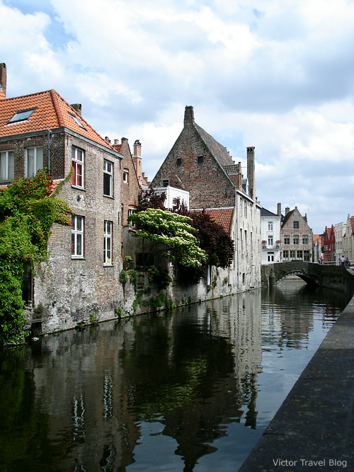 The canals and churches of Bruges, Belgium.