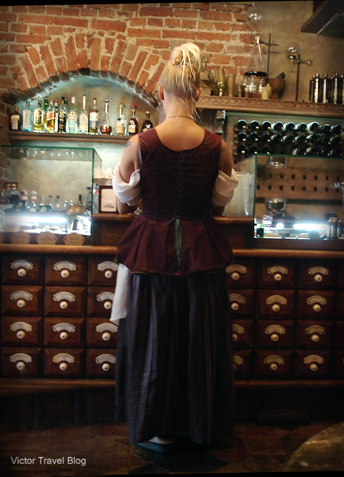 Waitress of the Black Magic bar. Riga, Latvia.