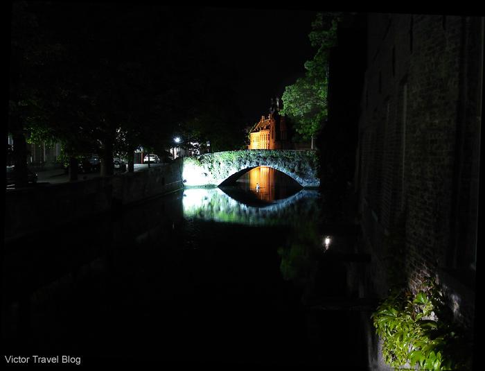 Bruges at hight. Belgium.