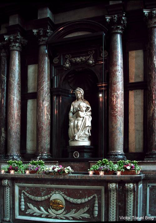 The Bruges Madonna sculpted by Michelangelo. Bruges, Belgium.