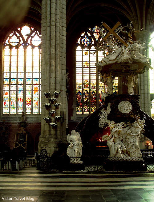 Inside of one of the churches of Bruges, Belgium.