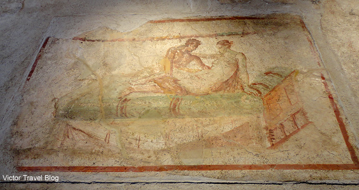 Erotic fresco of Pompeii, Italy.