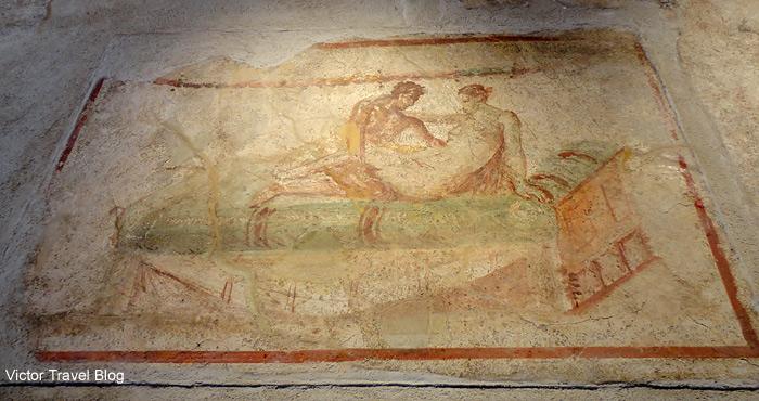 Erotic fresco of Pompeii, Italy.