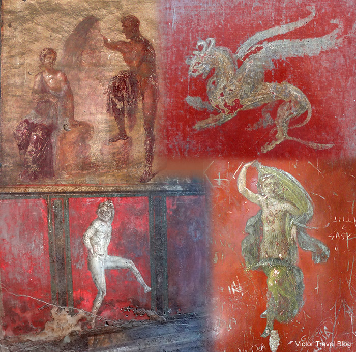 Frescos of Pompeii, Italy.