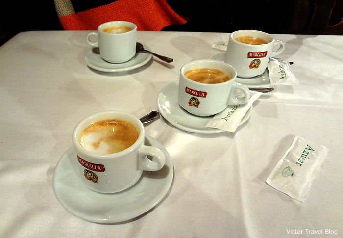 Cortado in in Casa Duque Restaurante. Segovia, Spain.