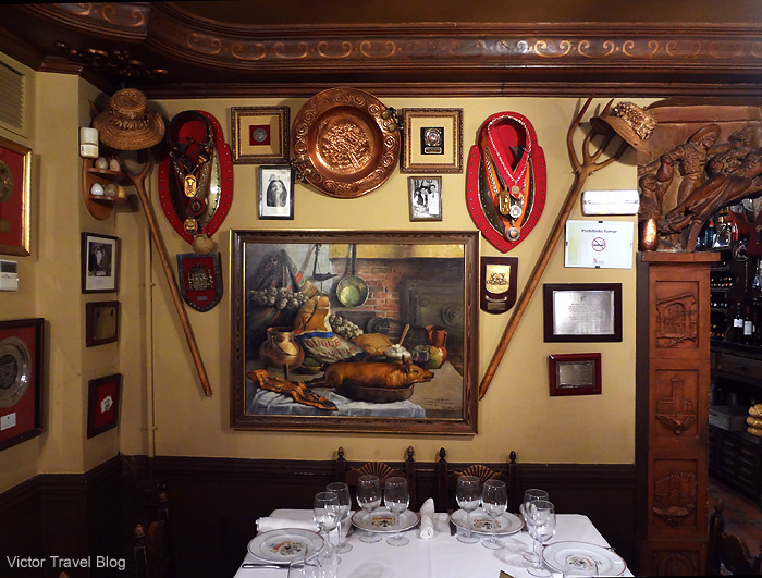 The medals of Casa DUQUE restaurant. Segovia, Spain.