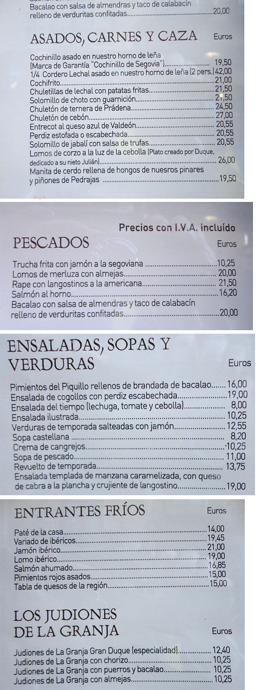 Menu of Casa DUQUE restaurant. Segovia, Spain.