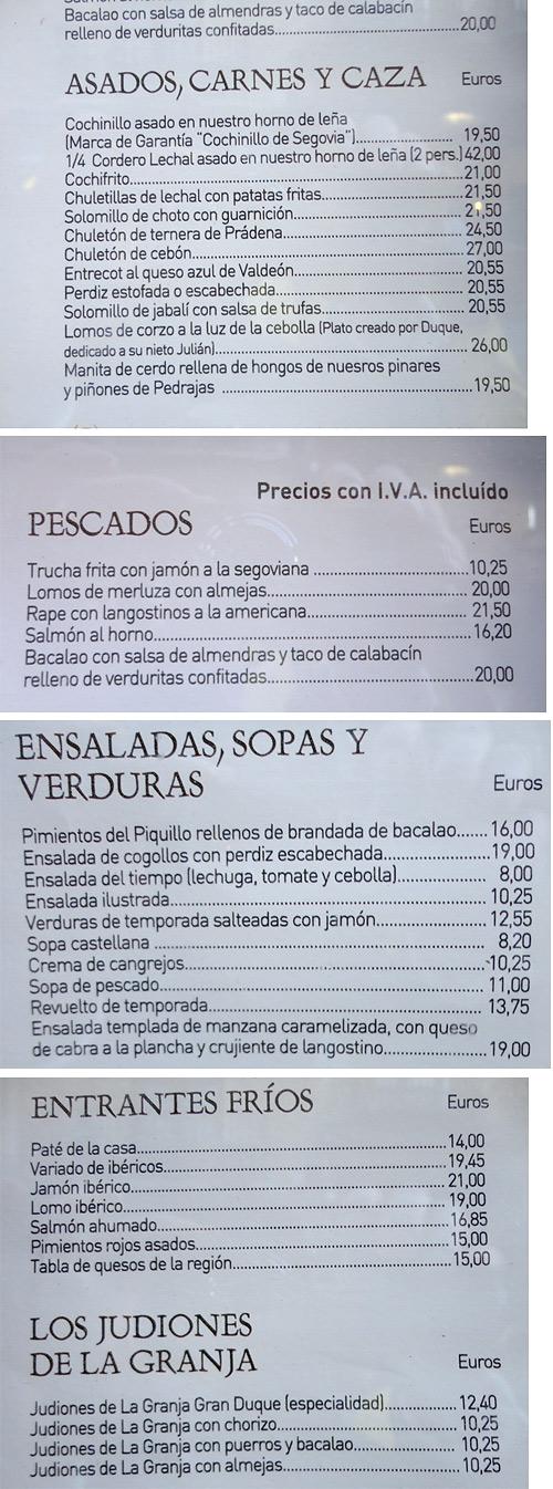 Menu of Casa DUQUE restaurant. Segovia, Spain.