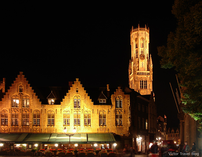 The Burg Square at night. Bruges, Belgium.