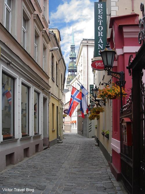 A street of Old Riga, the capital of Latvia.