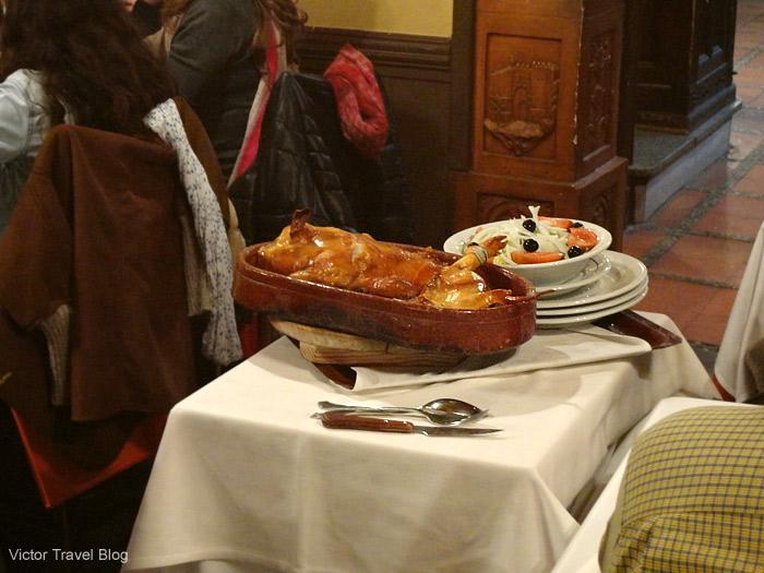 Cochinillo Asado in Casa Duque Restaurante. Segovia, Spain.