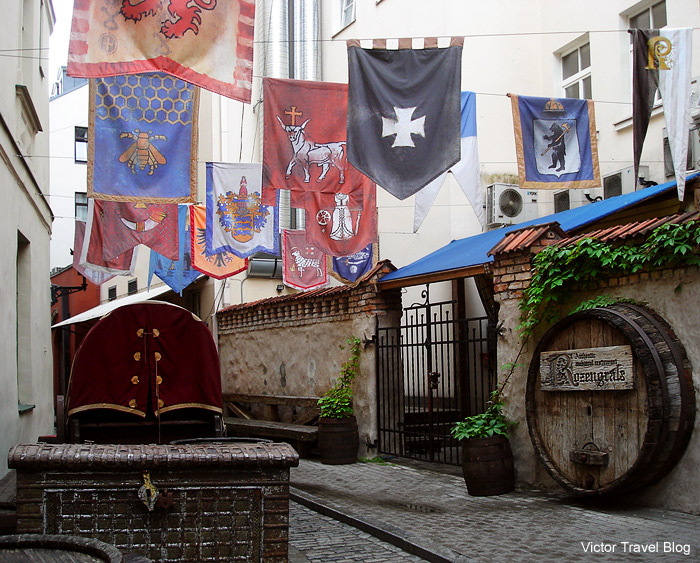 The entrance to the restaurant Rozengrals. Riga, Latvia.