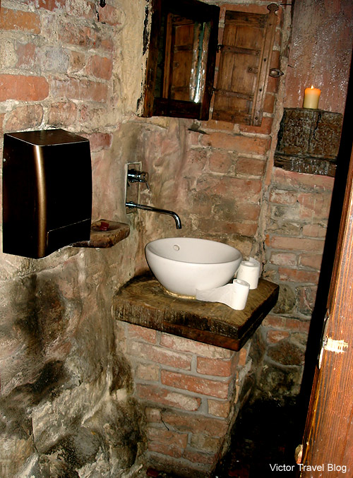 The toilet of the restaurant Rozengrals. Riga, Latvia.