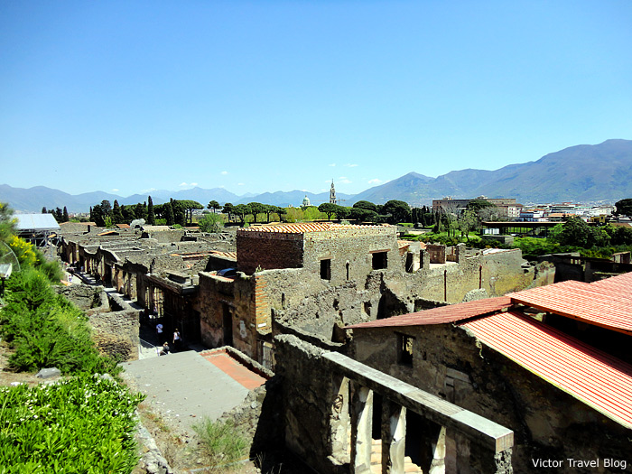 View of the ruins of Pompeii, Italy.