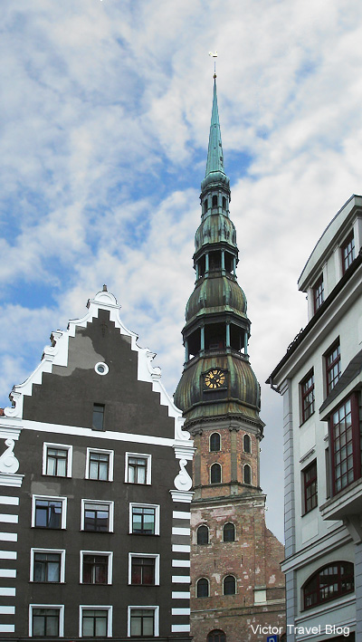 The bell tower of St. Peter's Church. Riga, Latvia.
