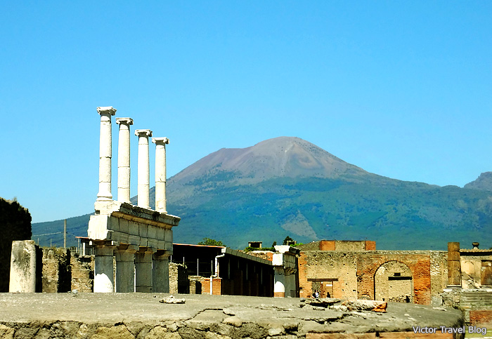 Views of Mount Vesuvius. Pompeii, Italy.