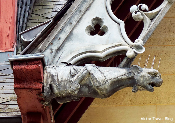 Architectural detail of the Lepel-Cointet House. Jumieges Abbey. Normandy, France.
