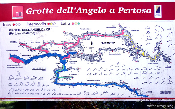The map of the Grotte dell Angelo (Caves of the Angel), Petrosa, Italy.